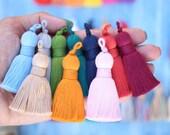 "Plush Cotton Tassels for Jewelry, Twisted Rope Binding, Decorative Tassels, 2.75"", Passementerie, Tassle Pendant, DIY Home Decor Fringe"