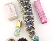 Nourish Gift Set for Mom: Coffee or Honey Body Scrub, Floral Smudge, Selenite Wand, Lavender Oil, Sandalwood Soap, Mothers Day Self Care Kit