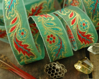 "Fresh / Spring Green, Red, Gold Trim, Ribbon, Sari Border / India, 1 1/8"" x 1"" / Floral, Bright Sewing, Craft Supplies / Mint, Garden"