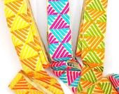 "Geometric Ribbon: Orange, Yellow Green, Pink, Turquoise Embroidered Silk Trim, 1 7/8"""