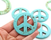 """Peace Sign Pendant, Turquoise Magnesite Charm, 2"""", DIY Crafts, Stay Home Activities, Jewelry Making, Boho Hippie, 54mm, Focal Charm, 1 piece"""