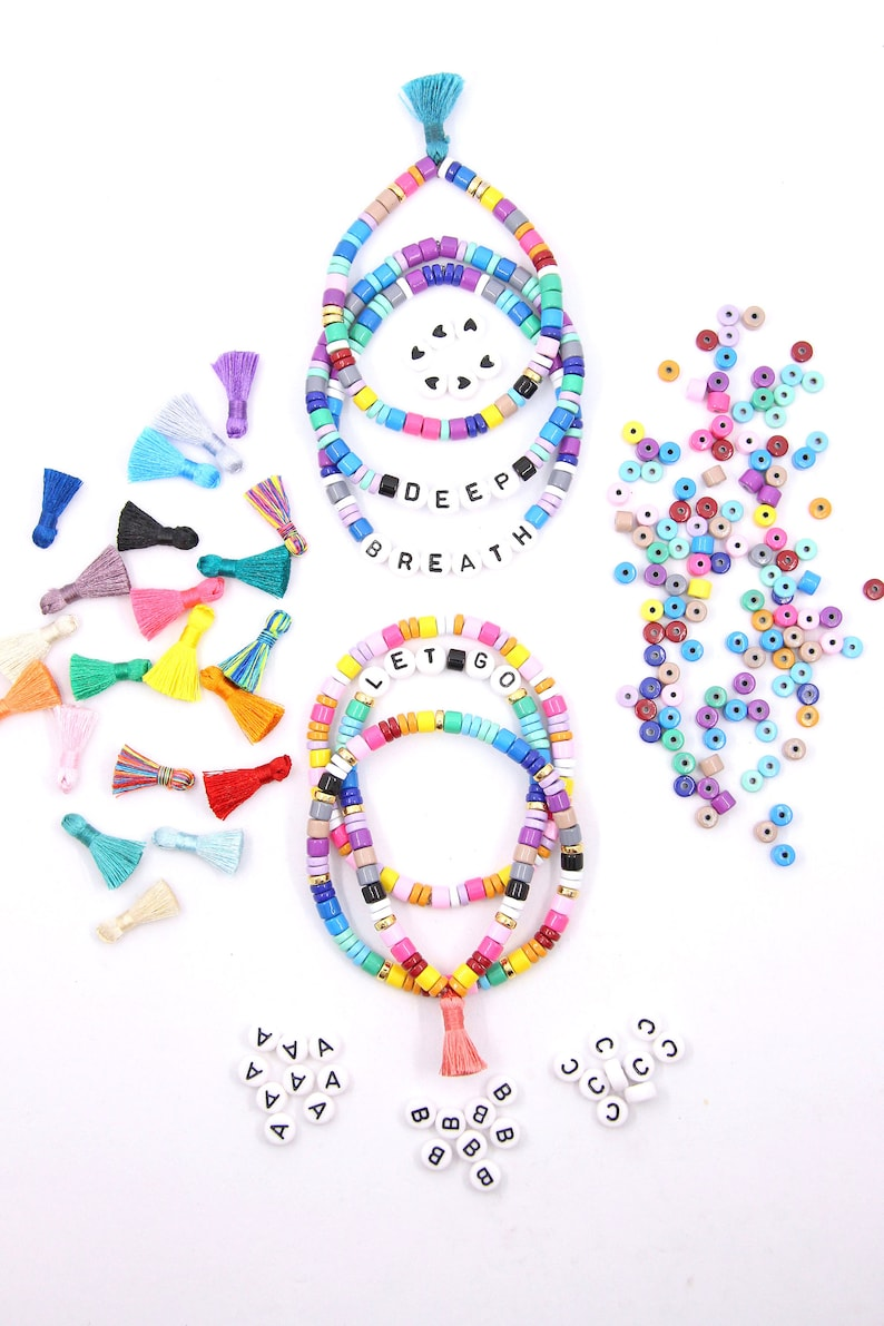 DIY Craft Kit: Custom Beaded Name Bracelet Trendy Candy Disc image 0