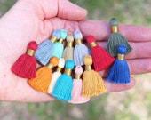 """Mini Jewelry Tassels for DIY Crafts, Cotton Earring Charms, GOLD Binding, 1.25"""", Ethically Sourced, Handmade Tassles for Jewelry, 10+ pcs"""