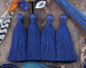 """Navy Blue Silky Jewelry Tassels, Reflecting Pond Pantone Fall Color, 2 Silky Handmade Long Tassels, Jewelry Making Supply, 3.5"""", 2 Pieces"""