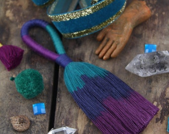 "Galaxy Blue, Purple, Teal Triple Ombre Tassel, Large Long Focal Handmade Cotton Tassels, 5.5"", Designer Quality, Boho Charm, Fringe"