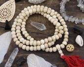 Cream Mala: 108 Bone Bead Spacers, Yoga Inspired Jewelry Making Supply, Bohemian Necklace, Prayer Beads, Meditation Tool, Gift for Yogi