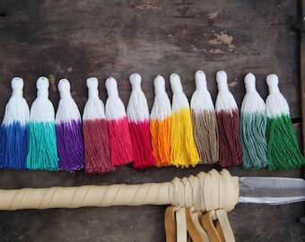 """3.5"""" Cotton Tassels: Dip Dye Ombre Fringe Pendant, Tie Dyed Boho DIY Craft + Jewelry Making Supplies, 3+ Pieces, Choose From 12 Colors"""