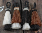 """Double Stack Horse Hair Tassels, Handmade, Natural Colors, Craft, Jewelry Making Supply Western, Bohemian, Choose your Color, 3"""" 1 Tassel"""