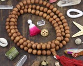 10 mm Sandalwood Beads : 108 Aromatic beads, Natural Authentic Indian Brown Sandalwood, Yoga-Inspired Jewelry Making, Mala, Fragrant Scent