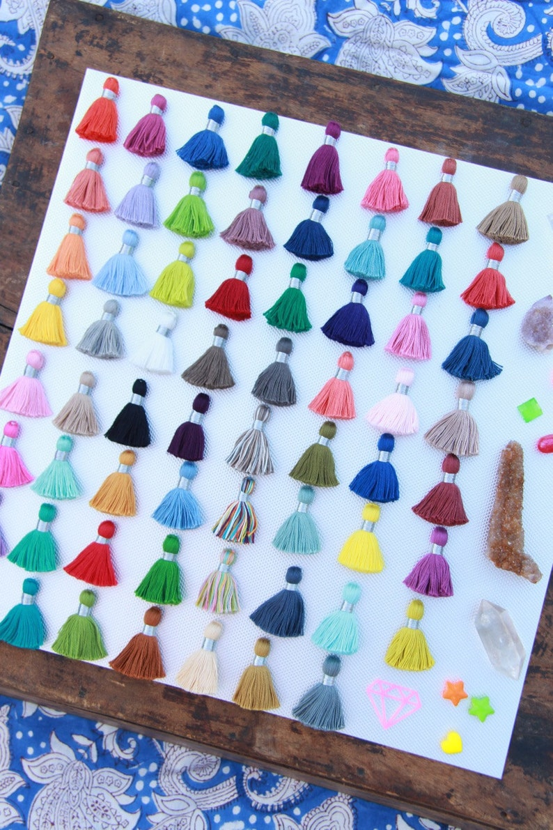 Mini Jewelry Tassels With SILVER Binding Pantone Colors image 0