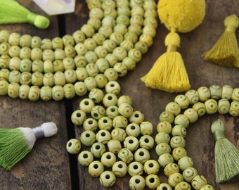 Target Bone Beads: Large Hole Yellow Green Rondelle, 8x6mm, Bohemian Tribal Jewelry Making Supplies, Boho Yoga Mala Spacers, 30+ pieces