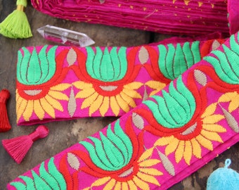 """Embroidered Silk Trim: Pink, Yellow, Green Floral Ribbon, Fabric, 2.5"""" x 1 yd, Flower Sari Border from India, Sewing Supply, Fiesta Blossom"""
