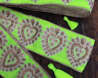 "Yellow Paisley: Bright Neon Embroidered Silk Trim, Ribbon, Sari Border, India 3""x1 Yard, Bright Metallic, Fancy, Craft, Sewing Supplies"