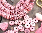 Pastel Pink Rondelle : Hand Carved Discs, 5x14mm, Natural Indian Stained Cow Bone, Craft, Jewelry Making Supplies, Tribal, Boho, 40 pcs