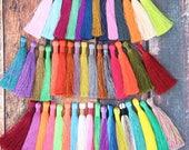"Silky Luxe Jewelry Making Tassels, 3.5"" Tassels for Necklaces, Earring Tassels, Handmade Silky Tassel Supplier, You Choose 3+ Colors"