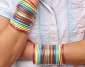 Glitter Rainbow Chakra Bangles, Waterproof Jewelry, Intentional Living, Workout, Mantra Bangles, Lightweight Summer Jewelry, 10 Bangles