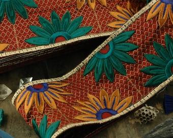 "Harvest Blossom: Brick Red, Mustard, Teal Silk Trim, Ribbon, Sari Border, India 3""x1 Yard /Floral Craft, Wedding, Sewing Supplies, DIY"