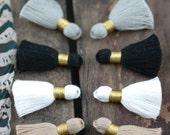 """Neutrals Mix Mini Tassels: Short Cotton Tassels, White, Grey, Black, Tan Handmade Jewelry Making Supplies,1.25"""", 8 pieces, Fall Fashion DIY"""
