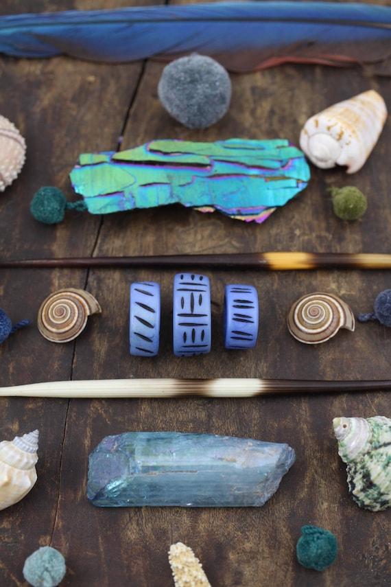 Periwinkle Blue Large Hole Skinny Tube Bone Focal Beads Rasta Dread Beads Tribal Jewelry Making Supply Macrame 3 pcs approx 20x25mm