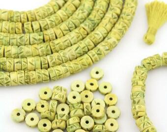 Carved Bone Beads : Yellow Green Tribal Heishi Discs, 10x4mm, Large Hole Bohemian Yoga Jewelry Making Supplies, Boho Mala Spacers, 45 pieces
