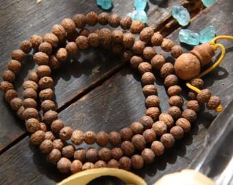 Unending: Banyan Seed Beads 9mm / Nepali Natural Organic Beads / 108 beads / Boho, Buddha Yoga Fashion, Jewelry Making Supplies