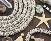 Tribal Designs : Hand Carved Cream Rondelle Bone Beads, 4x12mm, Natural Indian Cow Bone, Craft, Bohemian Jewelry Making Supplies, 50+ pcs