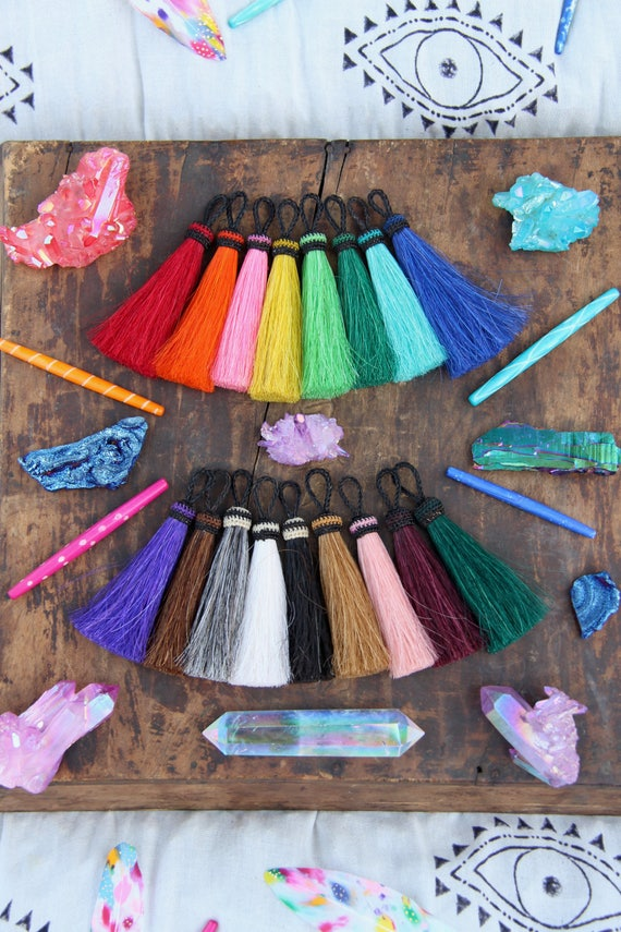 Solid Brights New Colors Large Dyed Horse Hair Tassels Etsy