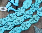 Turquoise Hexagon : Blue Hand Carved Bone, 24x30mm, 6 Large Hole beads, Painted Cow Bone, Craft, Jewelry Making Supply, Southwestern, Boho
