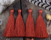 """Marsala Copper Silky Luxe Jewelry Tassels Natural FALL Color, 2 Silky Handmade Long Tassels, Designer Jewelry Making Supply, 3.5"""", 2 Pieces"""