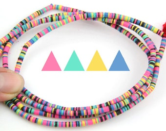 Neon Pop: African Vinyl Record Disc Beads, Heishi / Multi-Colored, Tiny, 3x.5mm / Summer Festival Fashion, Jewelry Making, Craft Supplies