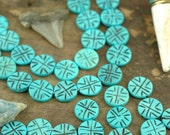 Turquoise Discs : Hand Carved Coin Bone Beads, 3x16mm, 14 beads, Natural Indian Cow Bone, Craft, Jewelry Making Supply, Bohemian Boho