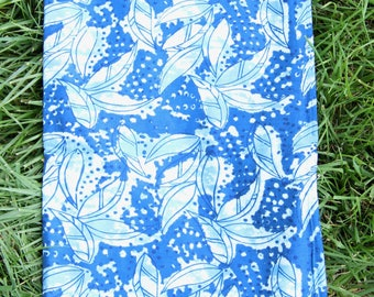 """Lush In Blue : Hand Block Print 100% Cotton Fabric, 1 yard x 45"""", Traditional Border Printed, Fashion Supply, Sewing, Craft Supplies"""