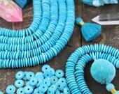 Turquoise Blue Bone Beads: 10.5x2.5mm, Aqua Blue Saucer Disc Beads, Spacer Beads, Bracelet Beads, Beachy Jewelry Making Supplies, 75+ beads