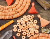 Peach Bellini : Peachy Orange, Speckled Brown Bone Washer Heishi Disc Beads, 10x2mm, Boho Mala Jewelry Making Supply, Tribal, Beach, 120 pcs