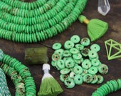 Parakeet : Green Speckled Brown Rondelle, Thin Disc Bone Washer Beads, 10x2.5mm, Bohemian Earthy Jewelry Making Supply, Slim Spacers, 75+ pc