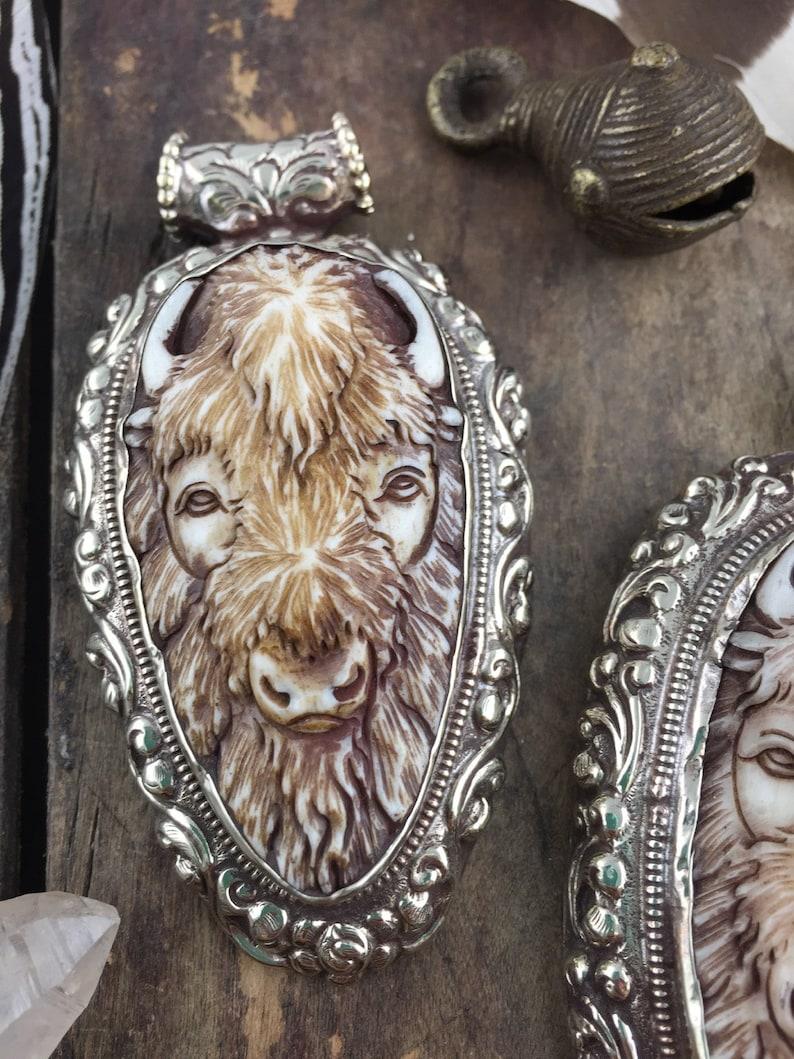 Refief Carved Pendant Fashion Silver Bezel Set 1 pc 3.75 Buffalo in Bone Bohemian Inspired Jewelry Making Western
