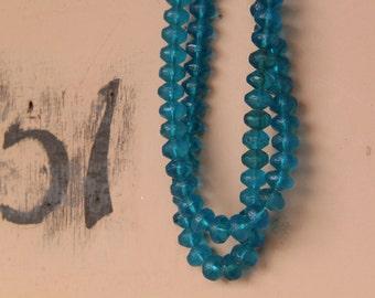 Vintage Aqua Blue Uranium Vaseline Glass Beads, African Trade Beads, 13x9mm- 15x10mm / Rare, Collectible / Aqua, Ocean Blue / 5 beads