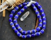 Cobalt Treasure: Blue, White, Red African Large Chevron Bead / Oval 7-Layer Chevron 18x20mm / Collectible, Rare / Tribal Art, Decor, 1 Bead