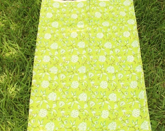 """100% Cotton Fabric: Hand Block Floral on Lime Green, 1 yard x 44"""", Traditional Bohemian Indian Textile with Flowers, Boho Sewing Supplies"""