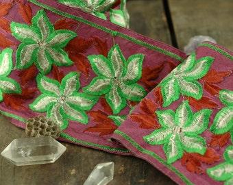 "Starfruit Blossom: Festive Fuchsia, Green, Silver Trim, Ribbon, Sari Border, India 4""x1 Yard / Spring Craft, Decorating, Sewing Supplies"