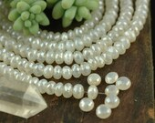"""Lunar Sparkle: Mystic White Moonstone A-Grade Faceted Rondelle Beads, 6 beads 7x4mm, 1"""",  Sparkling White Gemstone, Jewelry Making Supplies"""