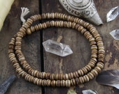 Brown Stained Inlaid Brass : Bone Bead Mala, 8mm Rondelle, Nepali, Tibetan Craft, Mala Beads, Yoga Jewelry Making Supplies, 108 beads