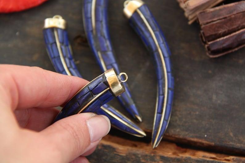 Brass Pendant 1 Tribal Pendant 3.5 x 12  Boho Jewelry Making Supplies Gift  Handcrafted Charm Blue Chilli Pepper Tusk Nepali Lapis