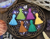 """Earth Mama Tassel Mix, Mini Cotton Tassels with Solid Binding, Handmade Jewelry Making Supplies, 1.25"""", 6 pieces, Hippie, Mother Nature"""