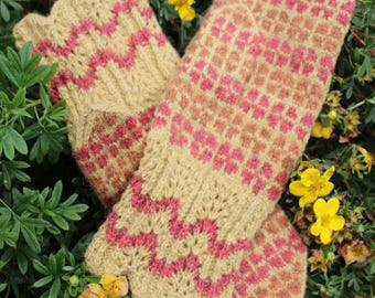 Finely Hand Knitted Seto (Estonian) Mittens on Yellow - warm and windproof