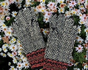 Hand Knitted Estonian Gloves in Black and White with A Maze Pattern