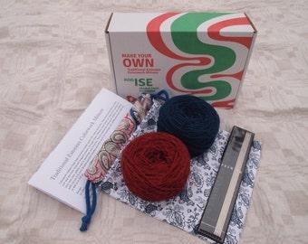 MAKE Your OWN Traditional Estonian Mittens KIT - pattern, needles, 2 balls of yarn, knitting bag
