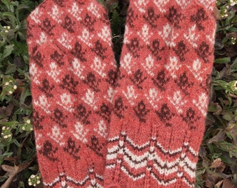 Finely Hand Knitted Estonian Mittens in Brown and Pink and White - warm and windproof