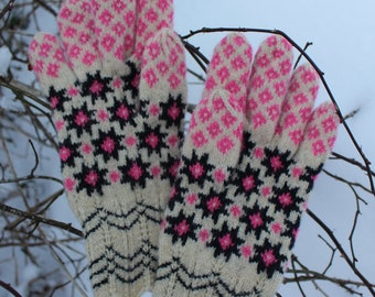 Finely Knitted Estonian Gloves in Urvaste Style with Natural White Pink and Black 8-pointed Star Power Pattern