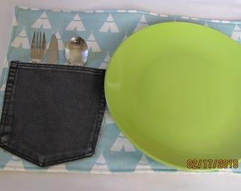 Aqua Teepee Placemat Set with Silverware/Napkin Pocket - 2 Mats